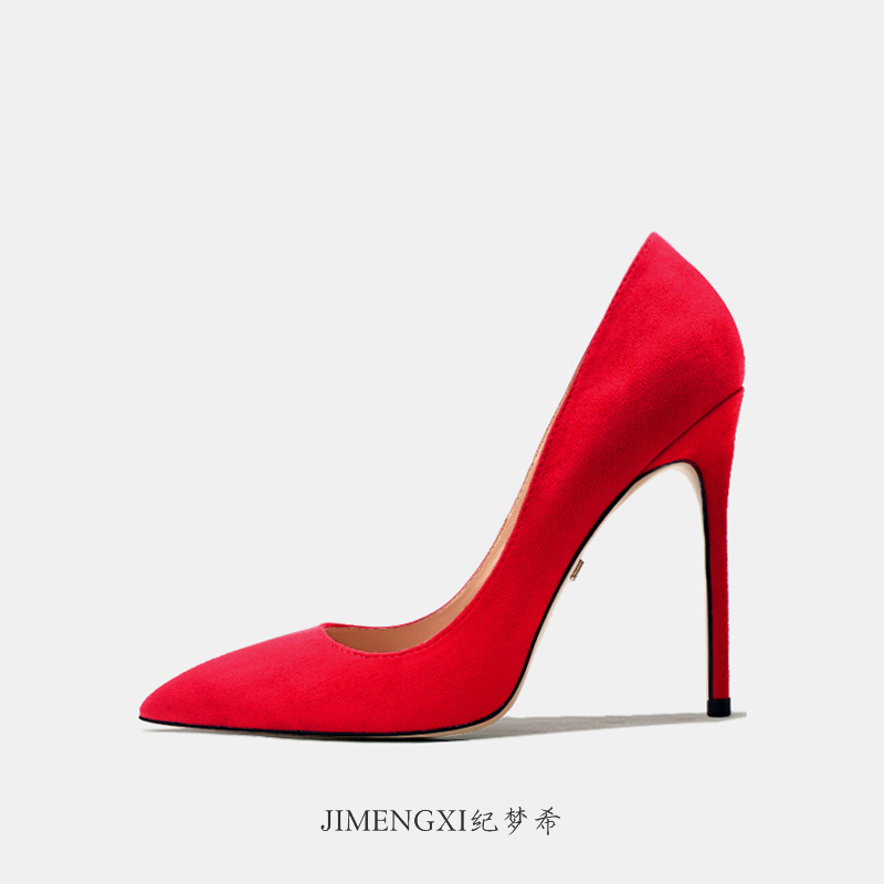 Red high heeled shoes 2020 spring versatile womens net red slim heel wedding banquet sexy suede soft leather banquet pointed single shoes