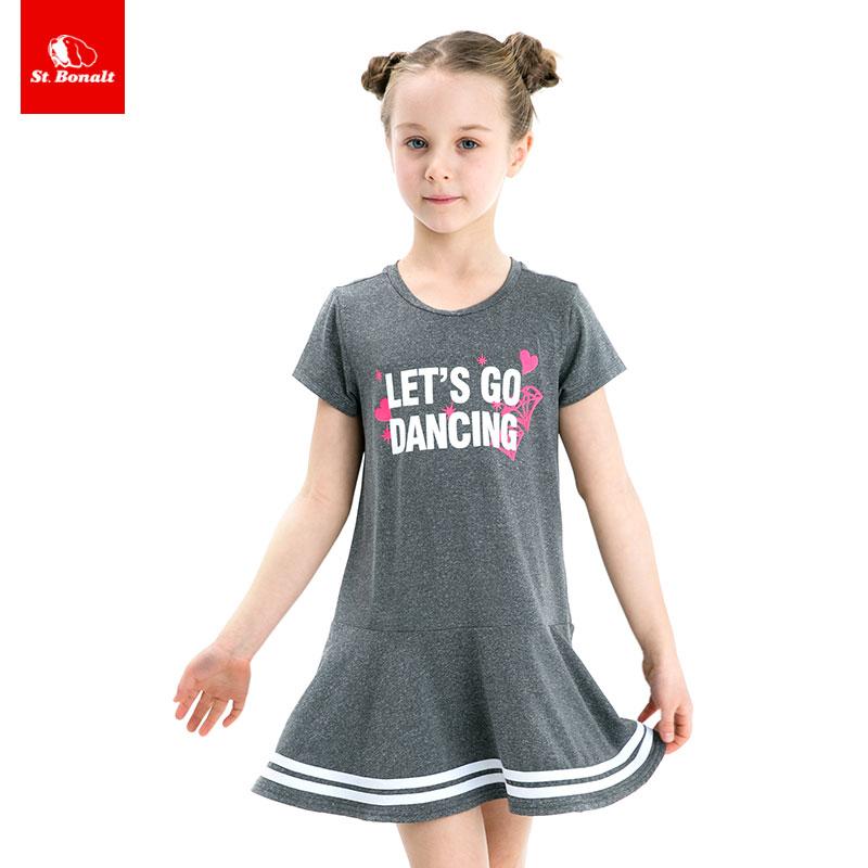 St. Bernard childrens quick drying dress parent child 2021 baby grey dress summer foreign style little girl Sports