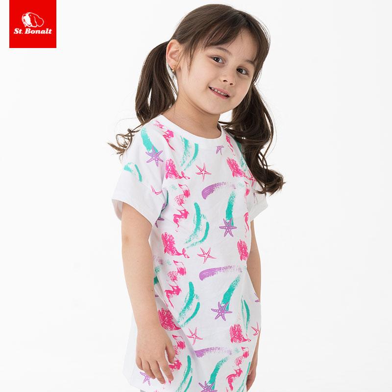 St. Bernard girls dress childrens foreign style short sleeve dress baby round neck medium length T-shirt spring and summer new products