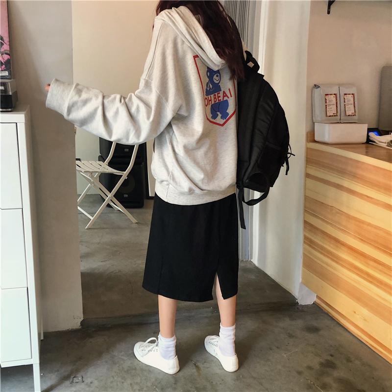 實拍實價控價45元!韓國秋季新款 小熊印花帽衫薄款套頭衛衣