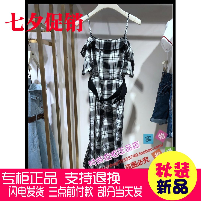 ONE MORE文墨女装 2018年秋装新品时尚黑白格连体裤11KE830112