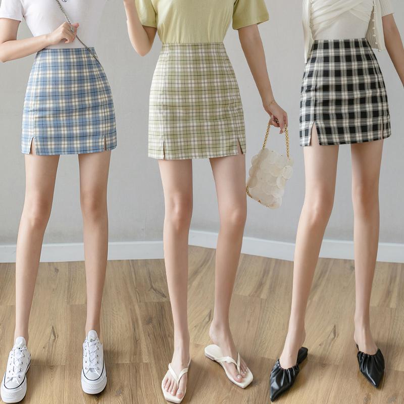 2020夏季格子半身裙女新款高腰bm风短裙显瘦开叉a字裙子
