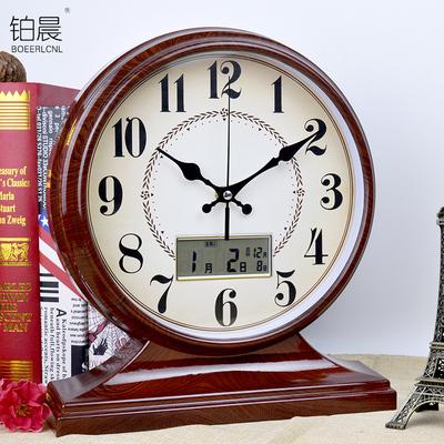 铂晨欧式复古座钟田园客厅钟表创意表床头时钟卧室静音台钟石英钟