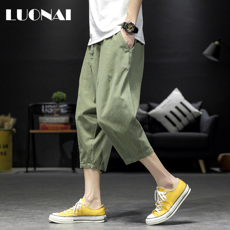 Summer thin shorts men's fashion loose large casual straight sports Capris breathable Korean Trend beach pants
