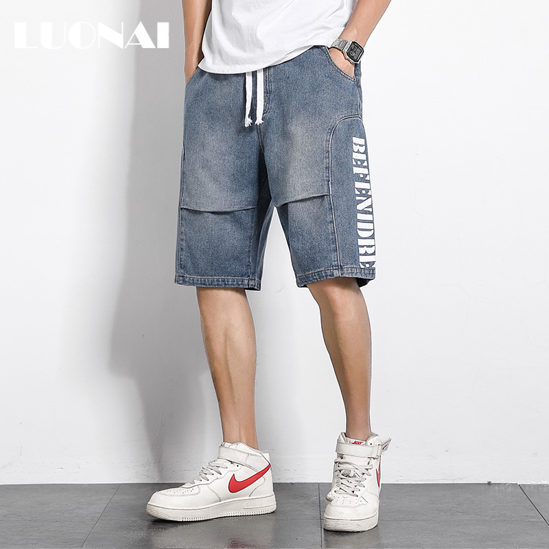 Summer men's casual shorts loose trend ins wild five-point jeans straight beach pants sports pants men