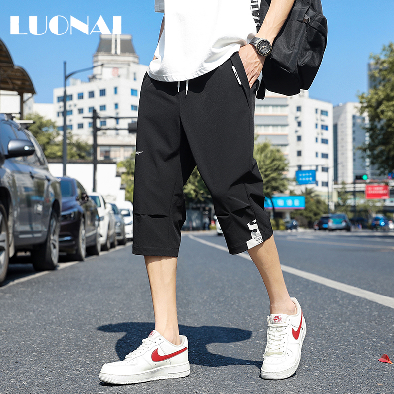 Summer trend brand thin 7-point casual pants men's Korean Trend loose sports shorts and straight beach pants