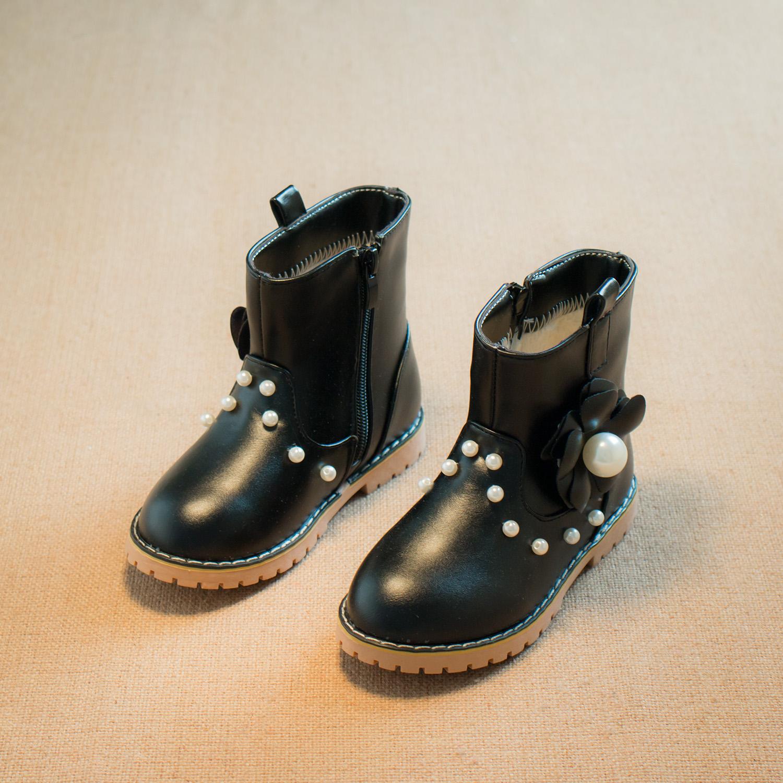 2016 зимние новые корейские девушки принцесса жемчужина бантом обувь короткие сапоги обувь Детская обувь тенденции