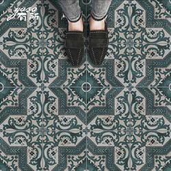 美式花砖绿色复古仿古砖厨房卫生间地砖摩洛哥庭院阳台花片瓷砖