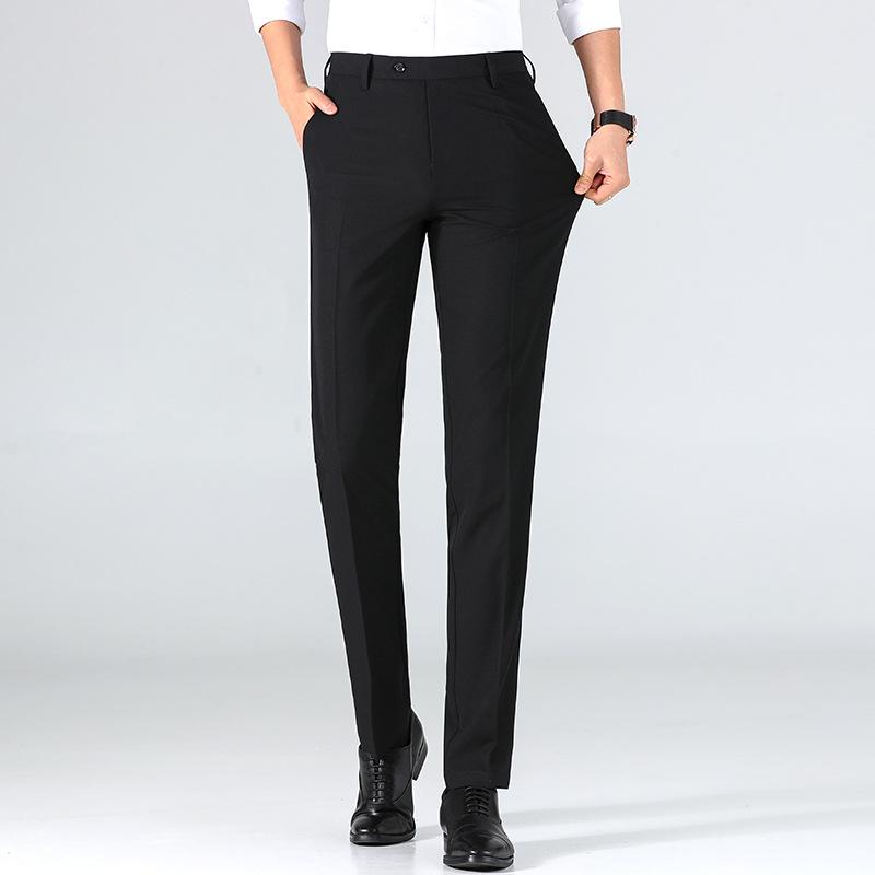 莱诗伯特2021春夏薄款韩版修身男裤弹力男式休闲西裤直筒中腰长裤