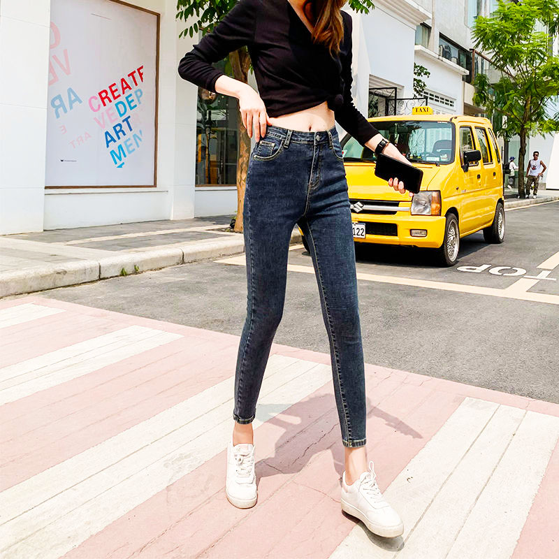 Summer soft thin stretch jeans womens 9-point slim fit small feet thin Student Korean black pencil pants low waist