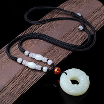 炫曼天然和田玉貔貅平安扣吊坠男士项链女款白玉项坠貔饰品