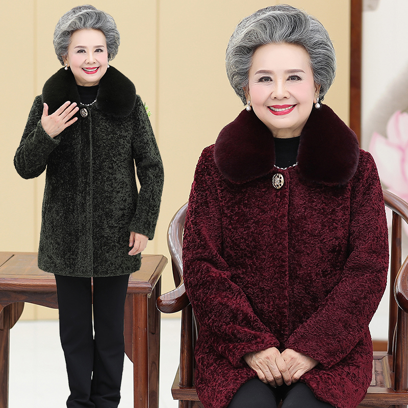 Winter clothes for the elderly, grandmas woolen coat, 60-70-80-year-old womans mothers medium length sheeps shearer coat