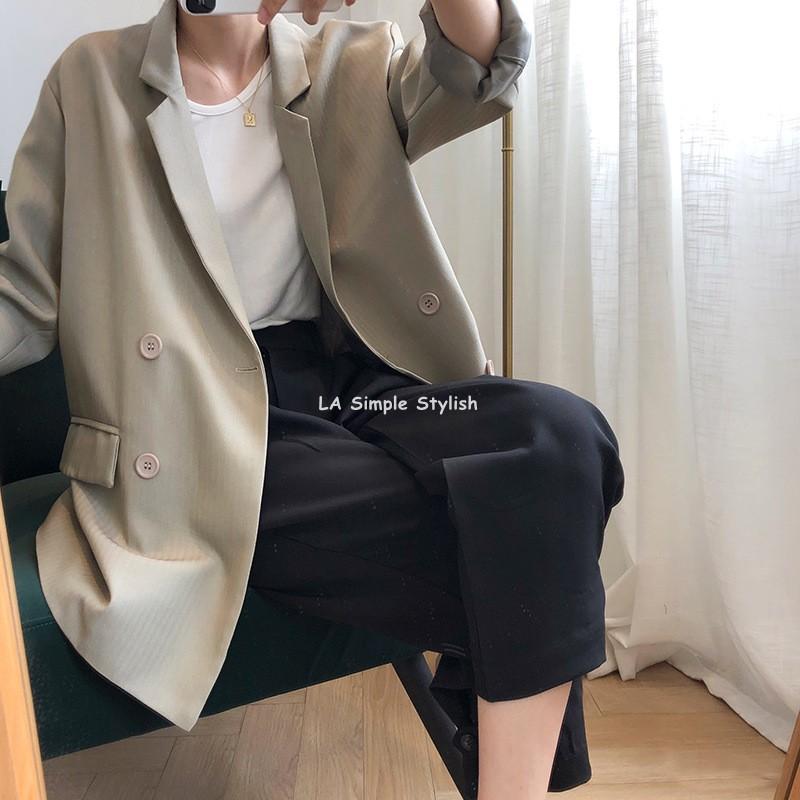 La lazy style Korean chic minimalist herringbone solid color womens Blazer casual grey green suit