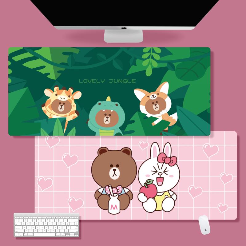 鼠标垫超大号卡通可爱布朗熊办公室男女生防水笔记本电脑键盘桌垫限20000张券