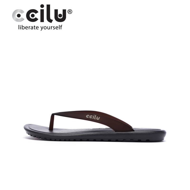 ccilu chi green flip flops men's slippers summer women's soft bottom non-slip outer wear couple beach surfing sandals