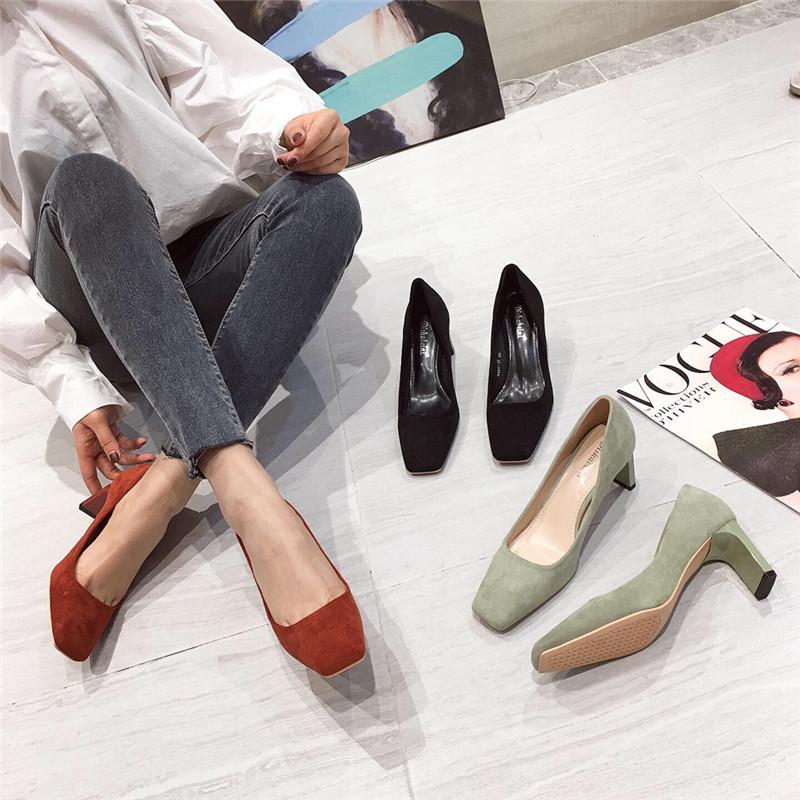 方头韩版高跟鞋女网红2020春季新款法式少女小细跟百搭职业单鞋