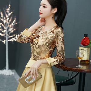 金色晚礼服女2021新款高级质感气质奢华高端宴会主持人连