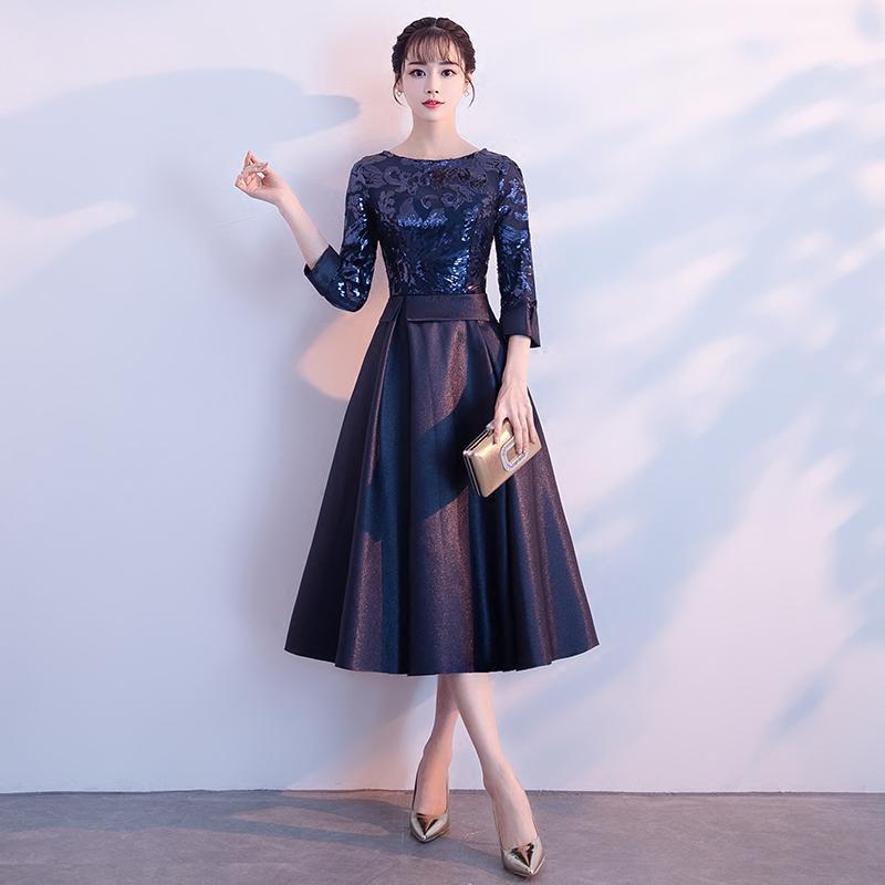 高端晚礼服女2021新款平时可穿气质高贵宴会连衣裙年会主持人长袖