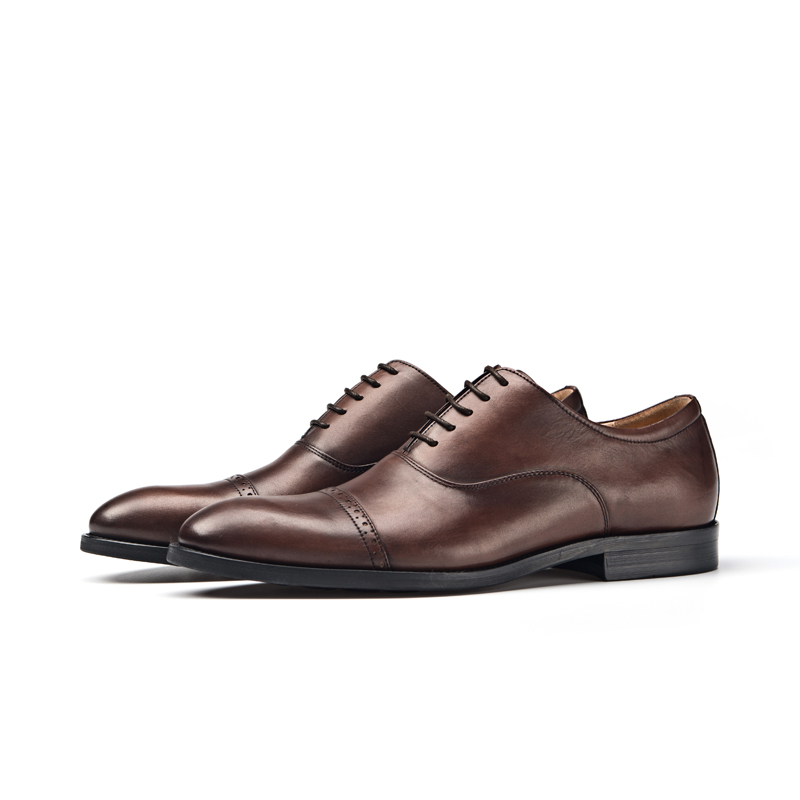 British casual leather shoes quarter Brock Oxford leather hand carved coffee brown business dress