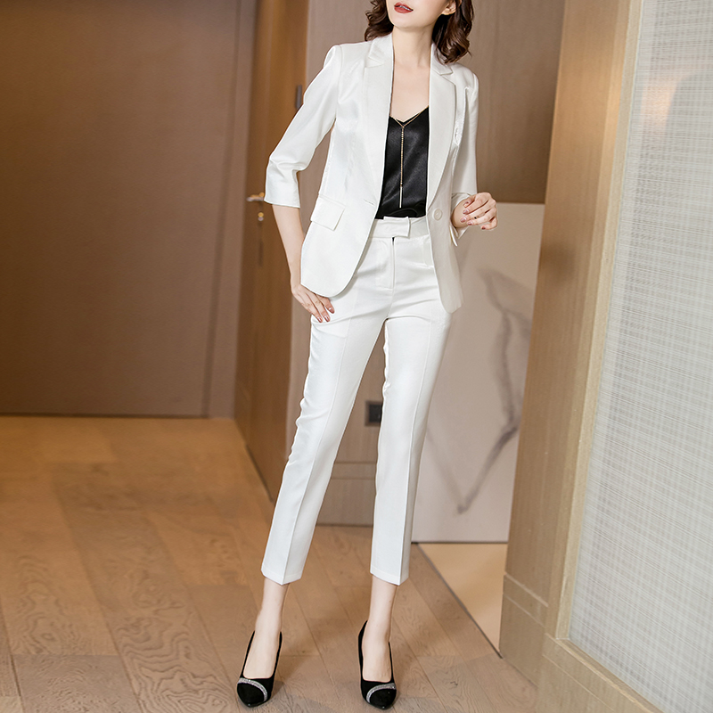 Spring 2021 white suit jacket female temperament fashion business wear high-end suit suit small suit spring and autumn