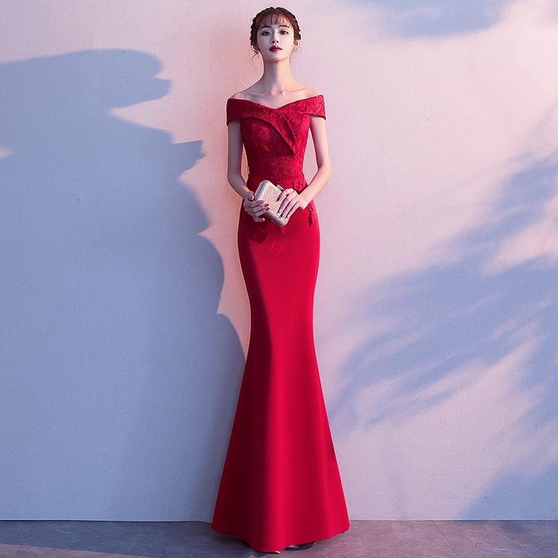 一字肩敬酒服新娘2020新款夏季红色气质鱼尾长款修身结婚晚礼服女