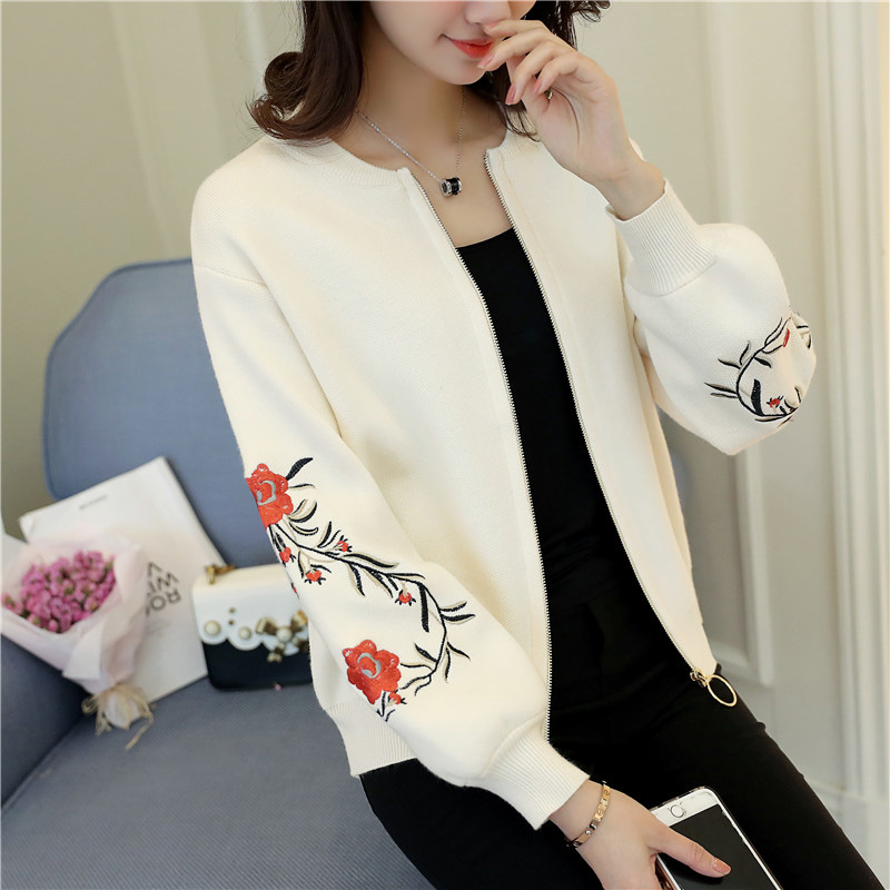 Autumn and winter knitted cardigan womens sweater 2020 new loose outer jacket versatile embroidered top trend