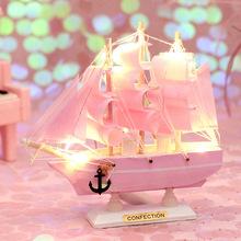 少女心一帆风顺帆船网红实木小木船模型装饰摆件拜访送礼节日礼物