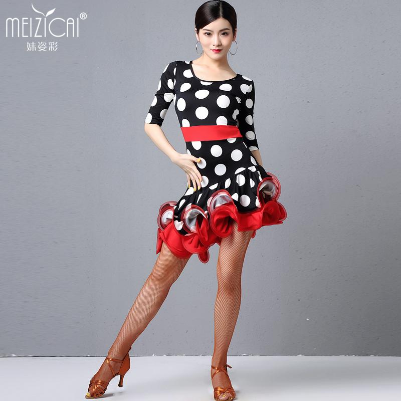 妹姿彩拉丁舞表演出服装专业比赛女练功服新款性感连衣裙鱼骨裙
