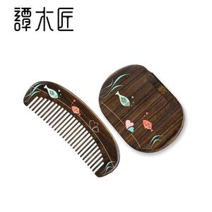 谭木匠梳子 礼盒浪漫之恋L 天然木梳子化妆口红镜子浪漫情侣礼物