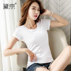 超火cec短袖女2020新款纯棉白色t恤女修身显瘦夏装百搭半袖上衣潮