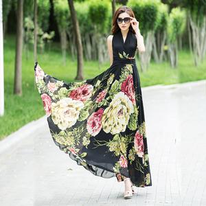 香衣丽华2021夏季新款雪纺印花超长款大摆连衣裙波西米亚沙滩裙仙