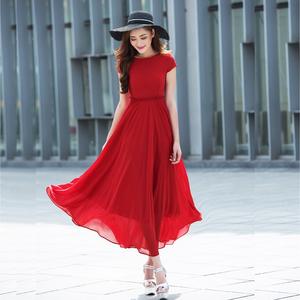香衣丽华2021夏季新款一字领超长款大摆雪纺连衣裙波西米亚沙滩裙