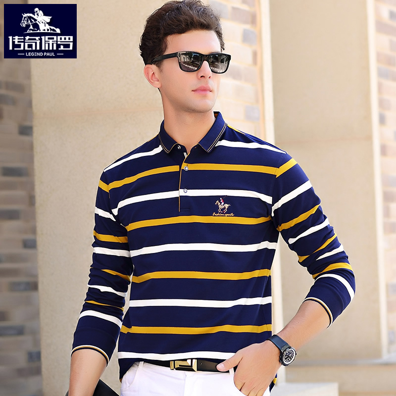 Spring and Autumn Business Leisure Men's Long Sleeve T-shirt Men's Turn-collar Cotton Stripe Polo Shirt Large Size Short for Young and Middle-aged People
