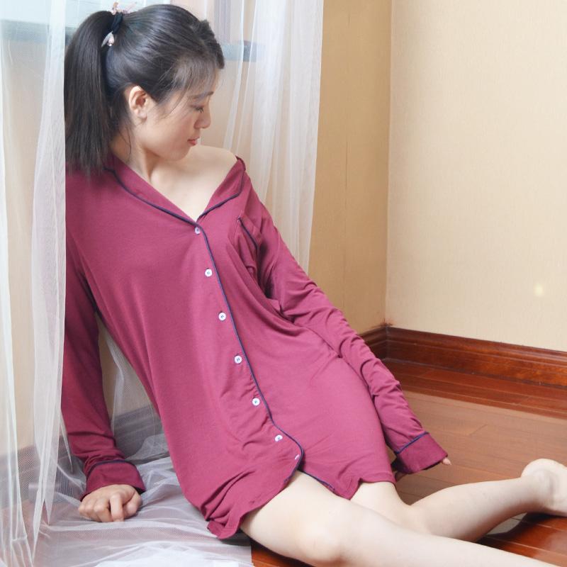 春秋女长袖莫代尔睡裙性感衬衫式薄款家居服大码本命年睡衣夏季