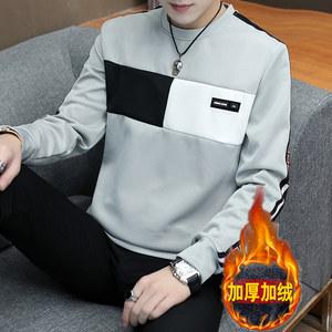 冬季男士长袖T恤加绒加厚圆领修身打底衫卫衣男装外套保暖上衣服