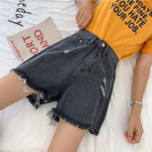 大码女装牛仔短裤女胖妹妹mm宽松显瘦破洞阔腿适合胯大粗腿裤子潮