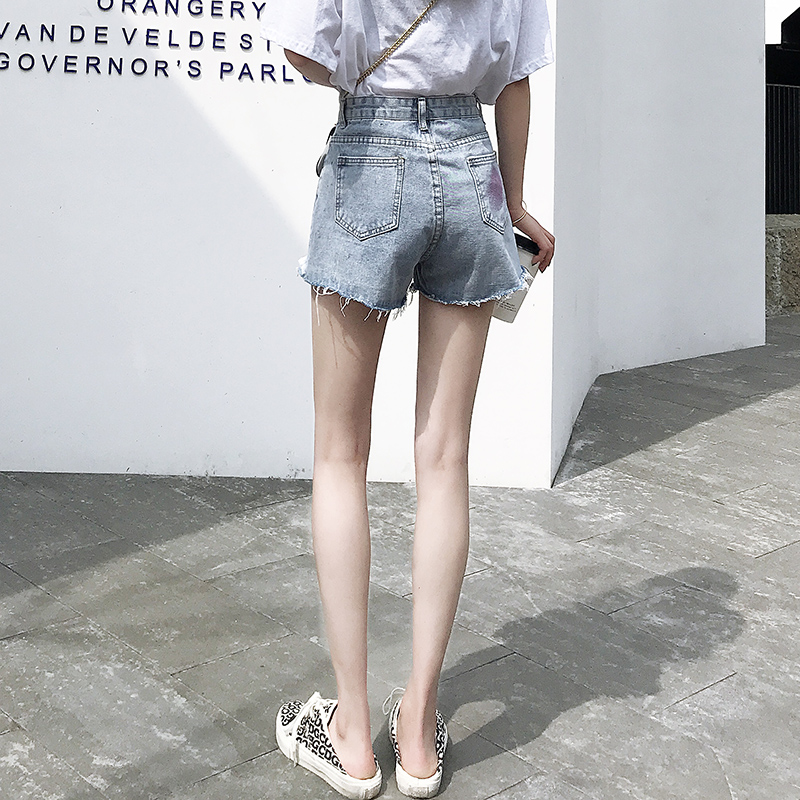 牛仔短裤女夏季薄款高腰宽松显瘦a字潮ins阔腿韩版2020年新款热裤图片