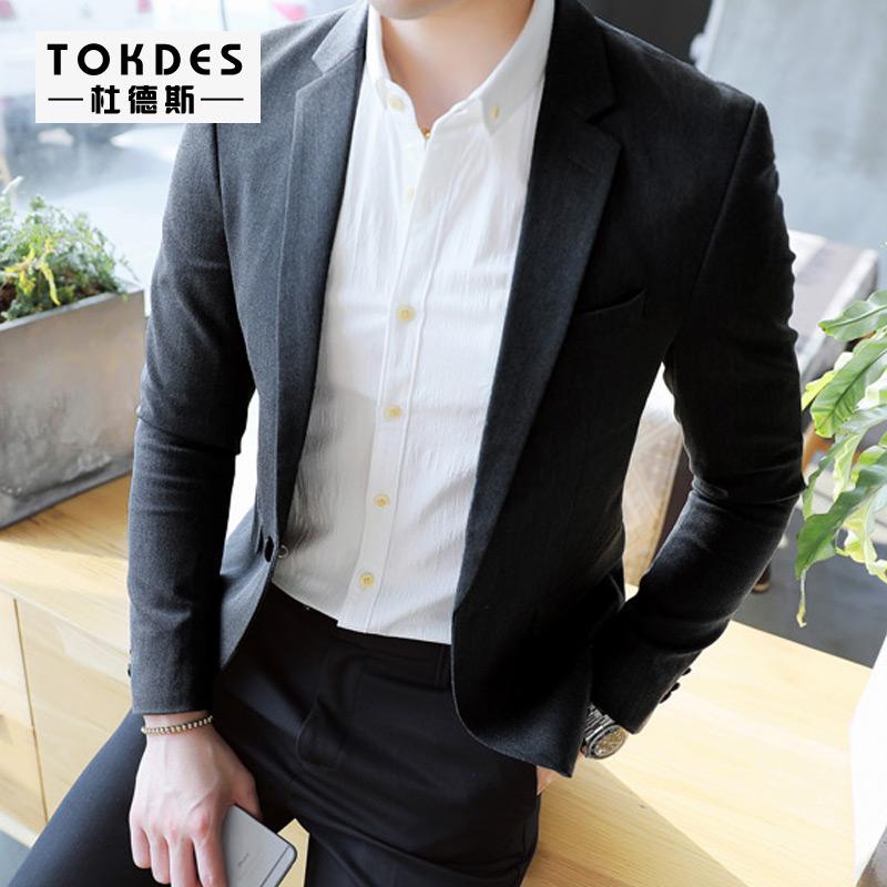 2017 осень приток мужчин ученый облегающий, южнокорейская версия небольшой костюм молодежь случайный англия твердый волосы тип модельние длинный рукав костюм