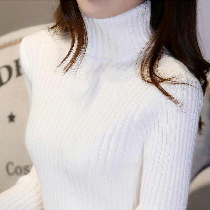 款 修身 2020秋冬新 紧身针织打底衫 加厚 白色高领毛衣女洋气内搭短款