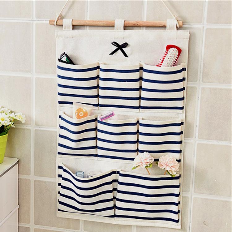 收纳挂袋布艺挂墙上可爱房间挂壁多层整理袋壁挂式收纳袋杂物袋