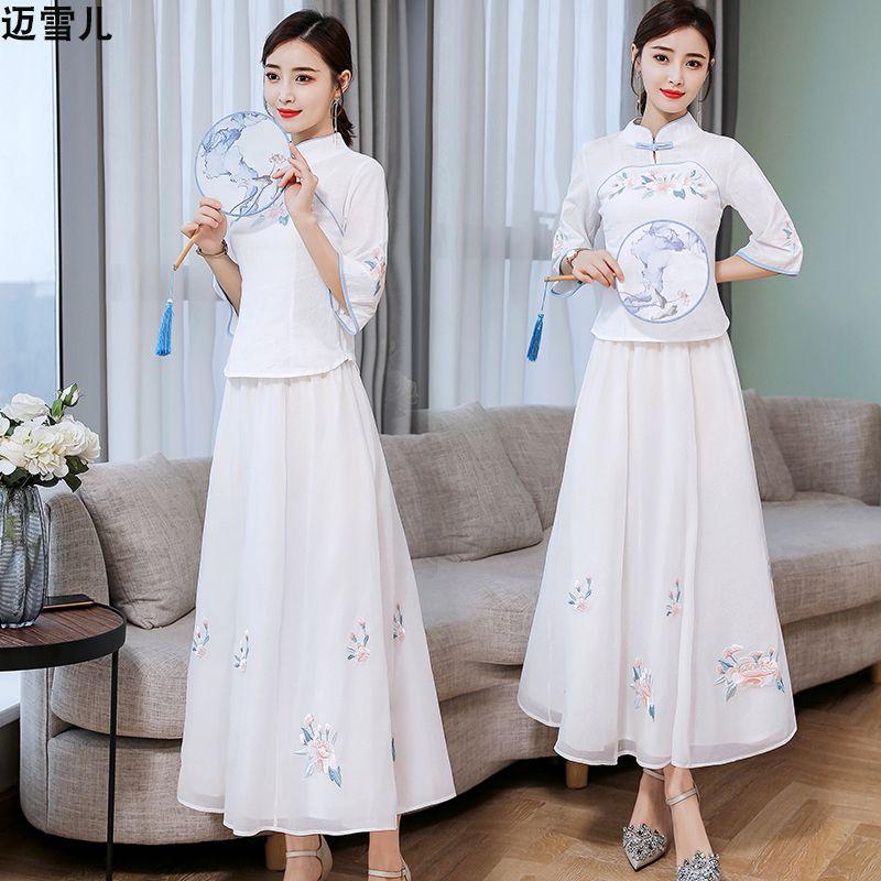 复古风改良版汉服连衣裙女民国风少女学生套装裙子新式旗袍两件套