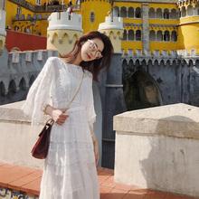 巴厘岛沙滩裙女秋2018新款海边度假白色仙女中长裙超仙蕾丝连衣裙