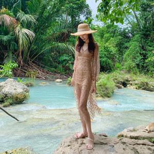 巴厘岛海边度假套女2020春装沙滩裙网纱刺绣显瘦连衣裙超仙长裙