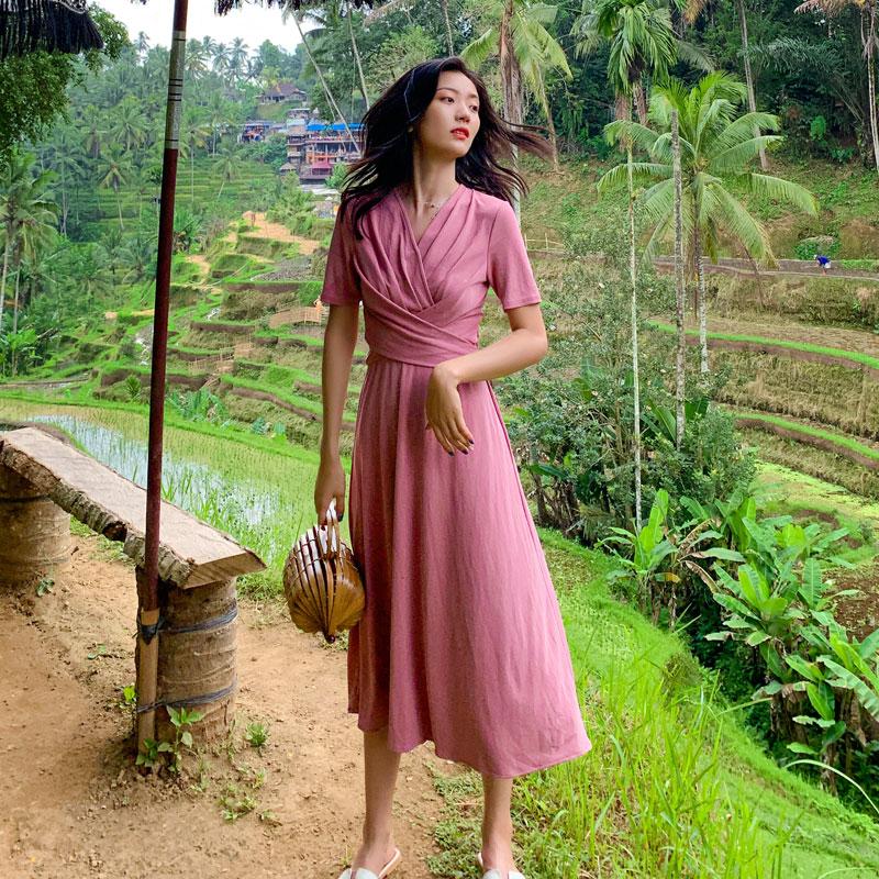 包邮2019秋季新款巴厘岛海边度假沙滩裙