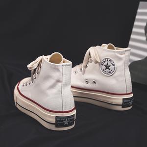 2020春季新款厚底增高帆布鞋女高帮学生百搭韩版女鞋休闲白色布鞋
