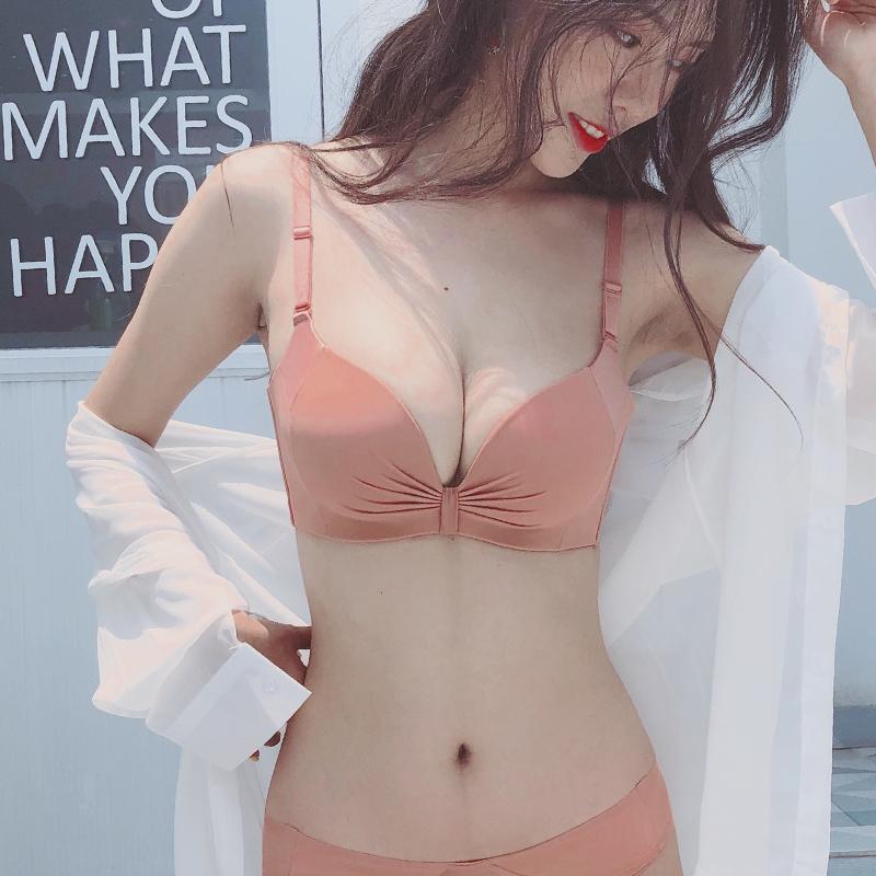 薄款内衣女聚拢调整型收副乳防下垂无钢圈姓感小胸上托文胸罩套装