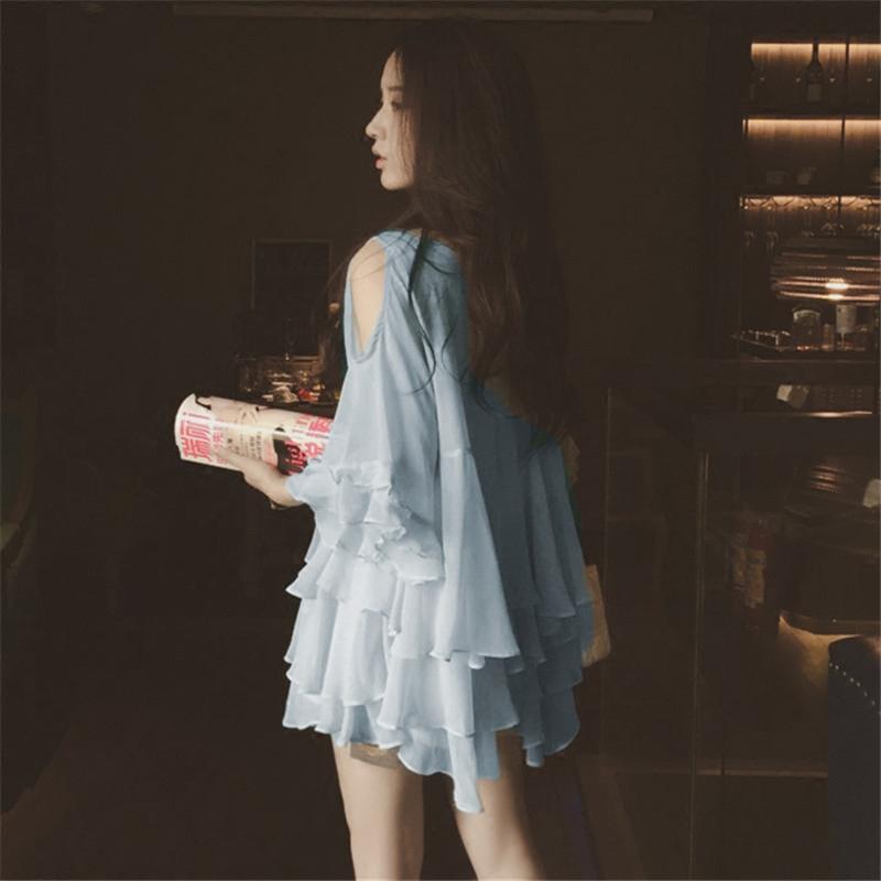 2020夏季新款韩版心机露肩V领超仙短袖雪纺衫女宽松上衣洋气小衫图片