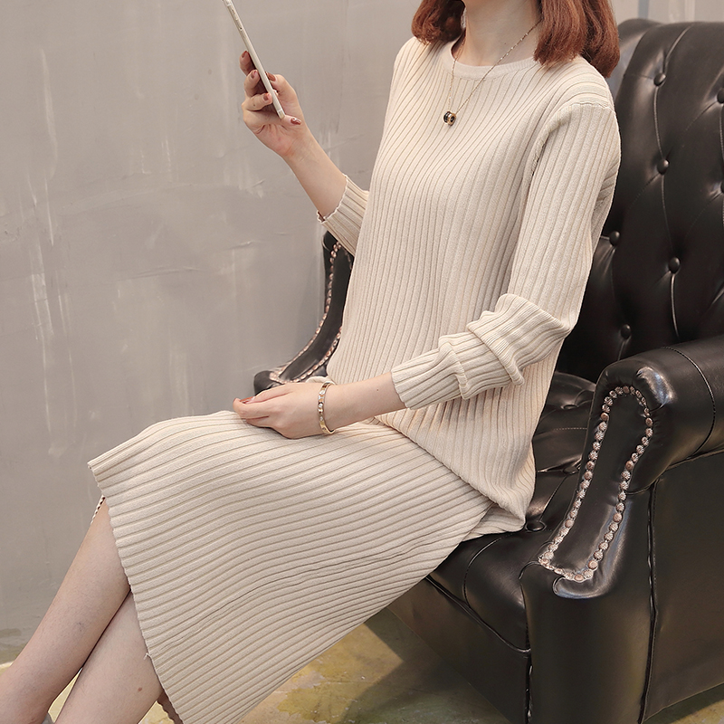Autumn and winter 2020 new knitted dress with overcoat medium length over knee sweater for women