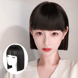 假发女短发全头套式假发女中长发网红漫画刘海仿真自然圆脸假发套