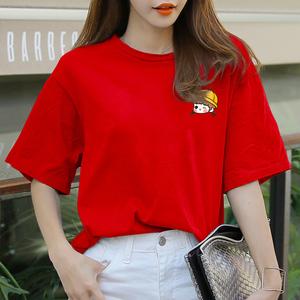 纯棉心机t恤女小众夏季女装2020新款潮卡通印花宽松短袖红色体桖